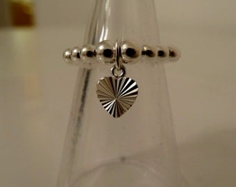 sterling silver beaded stretch ring