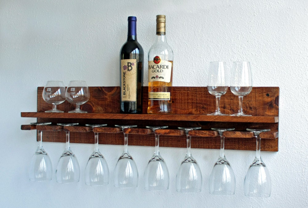 Floating Shelf Wine Glass Rack Wine Glasses By Adlitecreations
