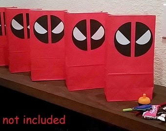 Deadpool logo goodie bags, candy bag, party bags, doggy bag, party favor, treat bag, deadpool. Set of 6. Bag is empty, candy not included.