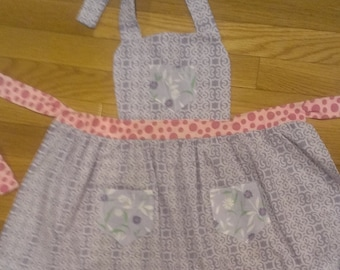 Girls Lavender and Pink Apron with Bib and Ruffles - Small
