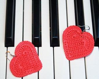 Heart earrings handmade earrings crochet red Valentine gift idea, crochet earrings, jewelry Valentine, nickel free