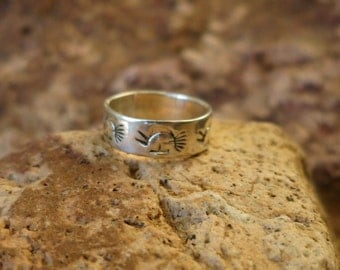 NAVAJO KOKOPELLI RING, Stamped, Size 7, Sterling Silver