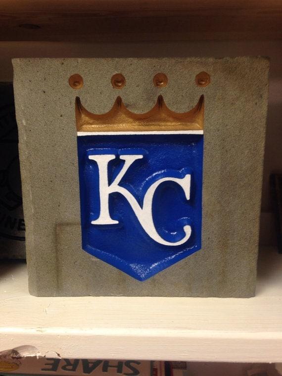 Kansas city royals garden stone baseball sand blasted and for Landscaping rocks in kansas city