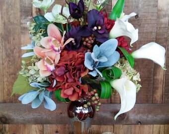 Rich Jewel Tone Artificial Arrangement- Faux Flowers- Silk Floral Arrangement