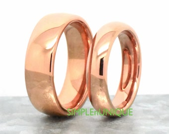 Wedding Matching Set, Couples Rings, His and Her Rings, Tungsten Rose Gold Wedding Band Sets, Wedding Ring Sets His and Hers