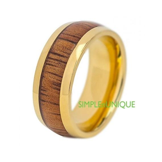 titanium mens wood ring hawaiian koa inlay by simplenunique