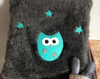Cushion OWL soft faux fur