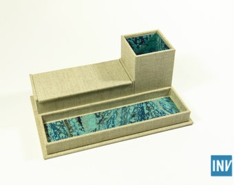 Desk caddy-organizer covered in natural linen and marbled paper (with pencil cup, tray, and box)