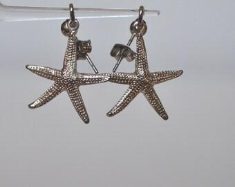 Vintage Sterling Silver Sea Ocean Creasure Starfish Dangle Earrings