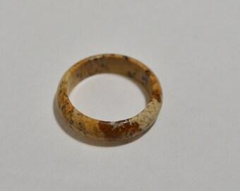 Natural Genuine Picture Jasper Gemstone Handmade Band Ring Size 10