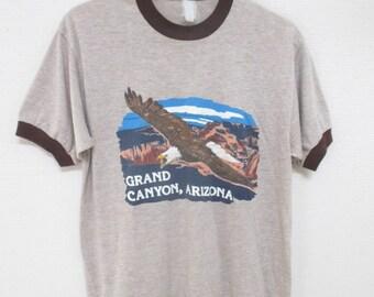 Vtg. GRAND CANYON ARIZONA 70s Ringer T-Shirt / Size Small