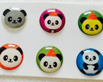 Set of 6 IPhone 3 4 4s 5 5c 5s 6 iPod Touch  iPad Air Panda Home Buttons Set of 5