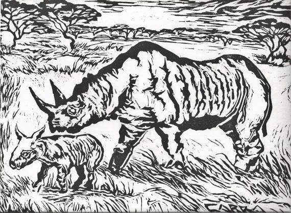Original hand carved linoleum block print rhinoceros africa