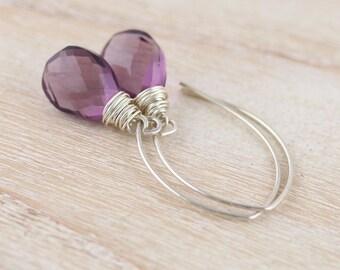 Sterling Silver & Amethyst Quartz Earrings. Long Drop Earrings. Wire Wrapped Purple Earrings. Semi Precious Gemstone Jewelry. Jewellery