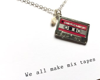 Mix tape charm necklace, cassette Necklace, Best Friend Necklace, BFF Gift, mixed tape, music Jewelry, music lovers present, retro jewellery