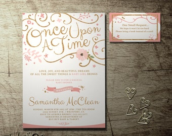 "Once Upon a Time baby shower invitation and  FREE ""Bring a Book"" Insert card. baby girl storybook fairytale pink and gold books for baby"