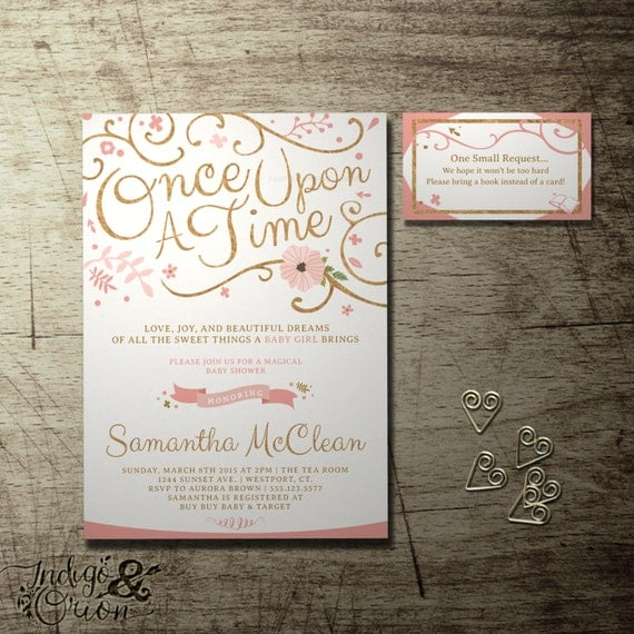 once upon a time baby shower invitation and free bring a book ins