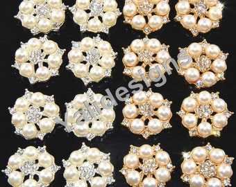 Set of 10pcs 26mm Crystal Pearl Flower Brooch- Children Headbands or Hair Clips-YTB78