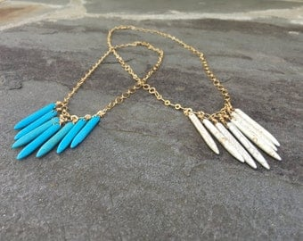 Turquoise and Gold Waterfall Necklace