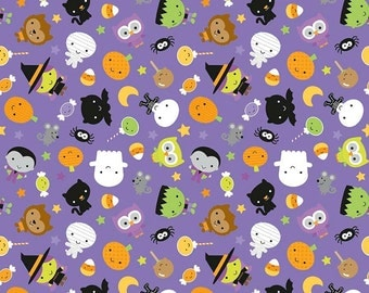 Ghouls and Goodies purple glow in the dark fabric by Riley Blake and Cynthia Sandoval of Doodlebug designs inc