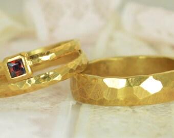 Square Garnet Engagement Ring, 14k Gold, Garnet Wedding Ring Set, Rustic Wedding Ring Set, January Birthstone, Solid Gold, Garnet Ring
