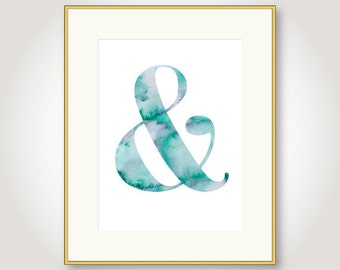 watercolor ampersand turquoise download blue bedroom wall art decor anniversary card him her jpg pdf printable digital instant download