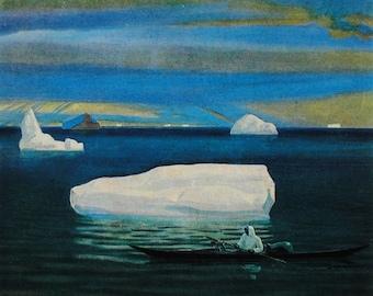 Artist Rockwell Kent - Eskimo in a Kayak - Vintage Soviet Postcard, 1981. Pravda Publ, Moscow. Arctic Iceberg, North, Ocean