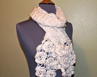 On Sale- Ivory Flower Scarf Stole Shawl Irish Crochet  Lace Freeform Irish Rose Flowers Leaves Ecru Cream Off White