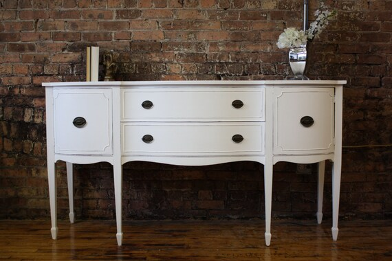 SOLD Antique White Distressed Buffet Or TV Stand Item