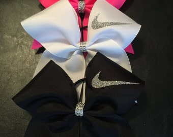 Nike Swoosh Cheer bow or softball BoW!!!MANY COLORS!!!Red, neon yellow ,white, black, maroon,pink,green,purple,navy, aqua blue, grey!