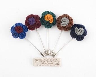Rolling felt flower boutonniere, felt lapel pin, felt flower boutonniere, flower lapel pin, groom's lapel pin, groomsmen lapel pin