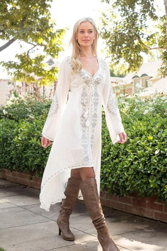 evelyn bohemian dress boho dress long sleeve white dress