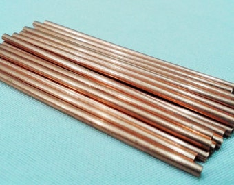 12 Pcs Raw Copper 2 x 100 mm Tube Beads