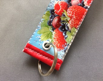 Large wristlet keyring, Wrist strap keyfob, Upcycled key holder, Capri Sun keychain, Hook up key fob, Strawberry Key ring, Runners gift idea