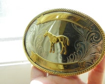 Vintage • Equine Horse Lovers Belt Buckle | Gold Silver German Silver | Made in USA