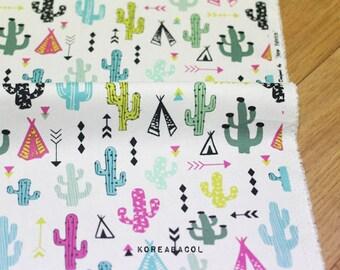"""Colorful cactus fabric, Cactus pattern, 44""""x35"""", 100% Cotton oxford, Scandinavian fabric, Plant pattern, Unique  [#M0015]"""