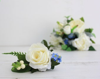 Artificial Wedding Flowers | Real Touch Faux Ivory Rose Buttonhole | Hand-Made By UK Florist | Wedding Buttonhole
