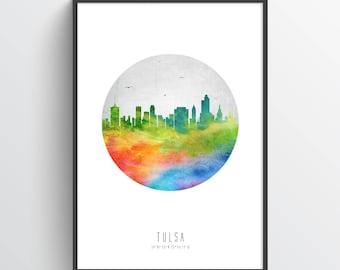 Tulsa Oklahoma Skyline, Tulsa Cityscape, Tulsa Print, Tulsa Art, Tulsa Decor, Home Decor, Gift Idea, USOKTU20P