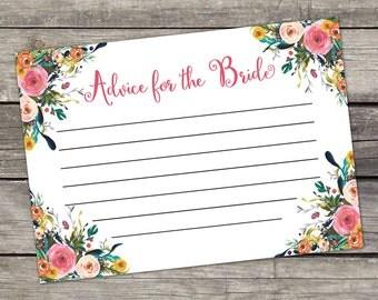 Floral Advice for the Bride Cards - Bridal Shower Favors - Watercolor Floral - Instant Download Bridal-154