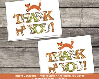 YOU PRINT Woodland Thank You Cards - Baby Shower Thank You Cards - 4x6 - Instant Download Baby-101