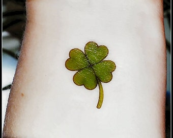 4 leaf clover St. Patrick's Day temporary tattoo green clover fake tattoos Irish tattoos