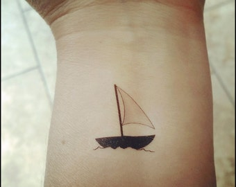 Sailboat temporary tattoos nautical tattoos fake tattoos