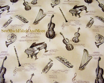 All That Jazz Fabric~Musical Instruments~By 1/2 yd~Orchestra~Pianos~Clarinet~Cello~Harp~Robert Kaufman~Music~Tea-Dye Sepia