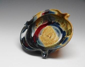 Brie Baker Pottery, Mini Pie Plate, Handmade Blue Splash Glaze, Cheese Plate, Ayers Pottery, handmade