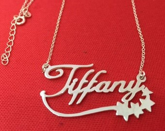 Personalized Name Necklace Sterling Silver Nameplate Star Style Custom Name Pendant