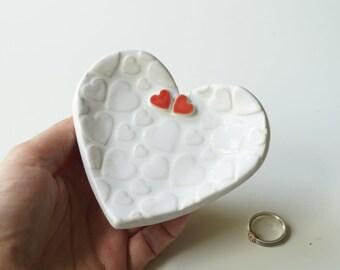 Ceramic Heart, Wedding Ring Holder, Wedding Ring Dish, Wedding Bowl, Wedding Ring Pillow, Jewelry Holder, Heart Plate, Ceramics and Pottery