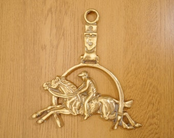 Horse and Rider || Vintage Wall Hanging Solid Brass