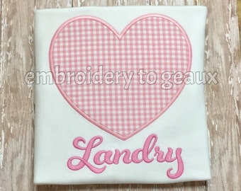 Personalized  Pink Gingham Heart Valentine Child's T-shirt or Bodysuit-Heart Shirt for Girls--Girls Valentine Shirt--Heart Shirt