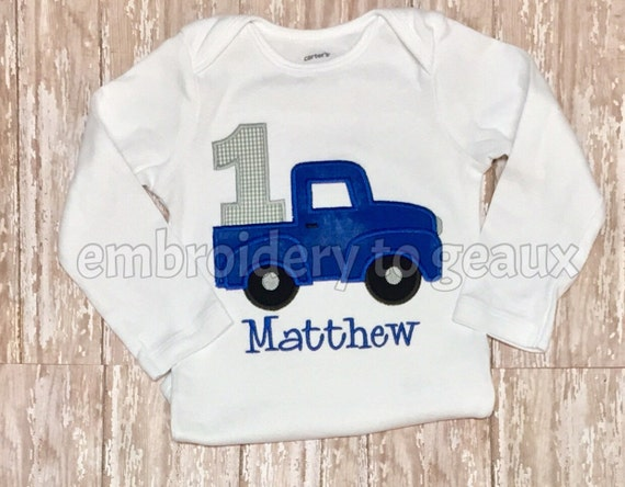 Little blue truck inspired first birthday t shirt or bodysuit for Little blue truck fabric