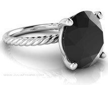 Black Spinel Ring, Solitaire Ring, Black Stone Ring, Sterling Silver Gemstone Ring, Cocktail Ring, Stacking Ring, Twisted Band